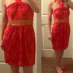 LA Laundry pink/orange with gold accents dress